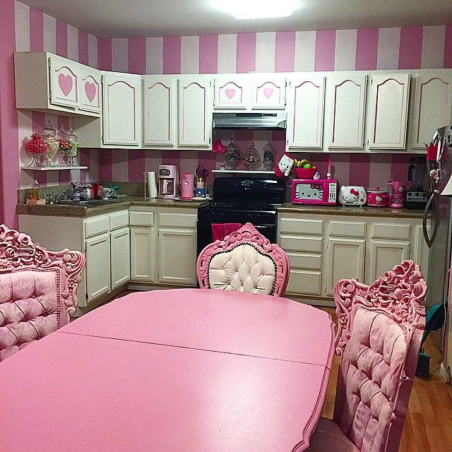 Pink Striped Kitchen With Hello Kitty Appliances
