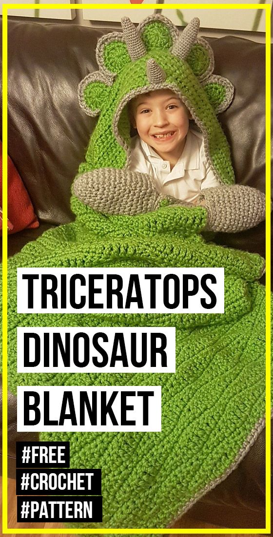 crochet 2 in 1 Hooded Triceratops Dinosaur Blanket free pattern #crochetdinosaurpatterns