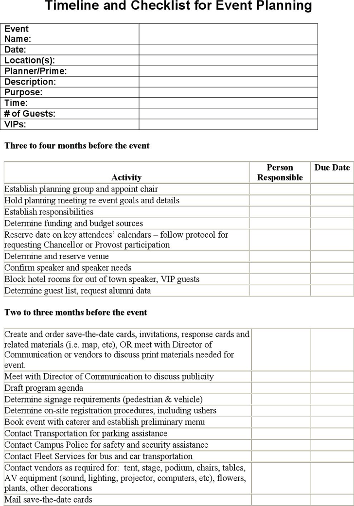 Timeline And Checklist For Event Planning Biz Event