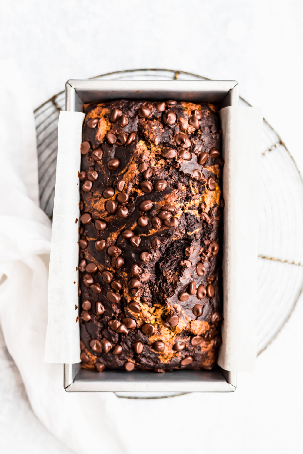 Healthy Marbled Chocolate Zucchini Banana Bread #bananabreadbrownies