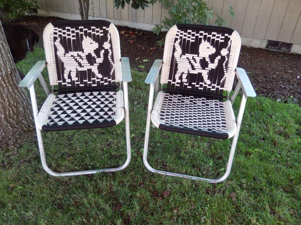 Kitten Cat Black White Vintage Folding Lawn Chair Macrame Aluminum SO Retro