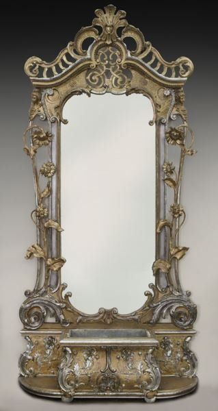 Antique rococo style silver/gold gilt pier mirror, : Lot 263