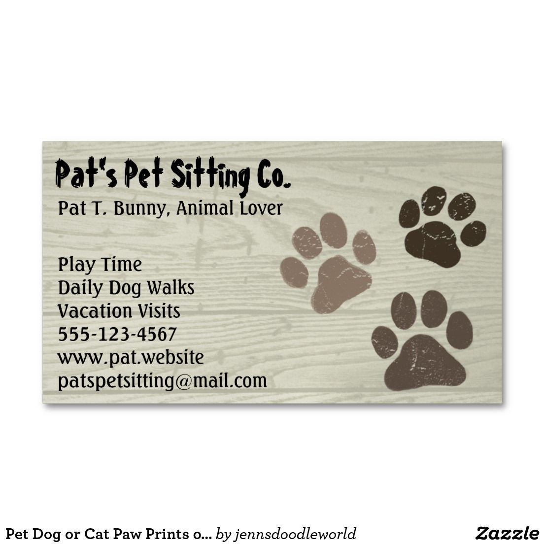 Pet Dog Or Cat Paw Prints On Faux Weatherd Wood Magnetic Business Card Zazzle Com Pet Paw Print Cat Paw Print Business Cards Pets