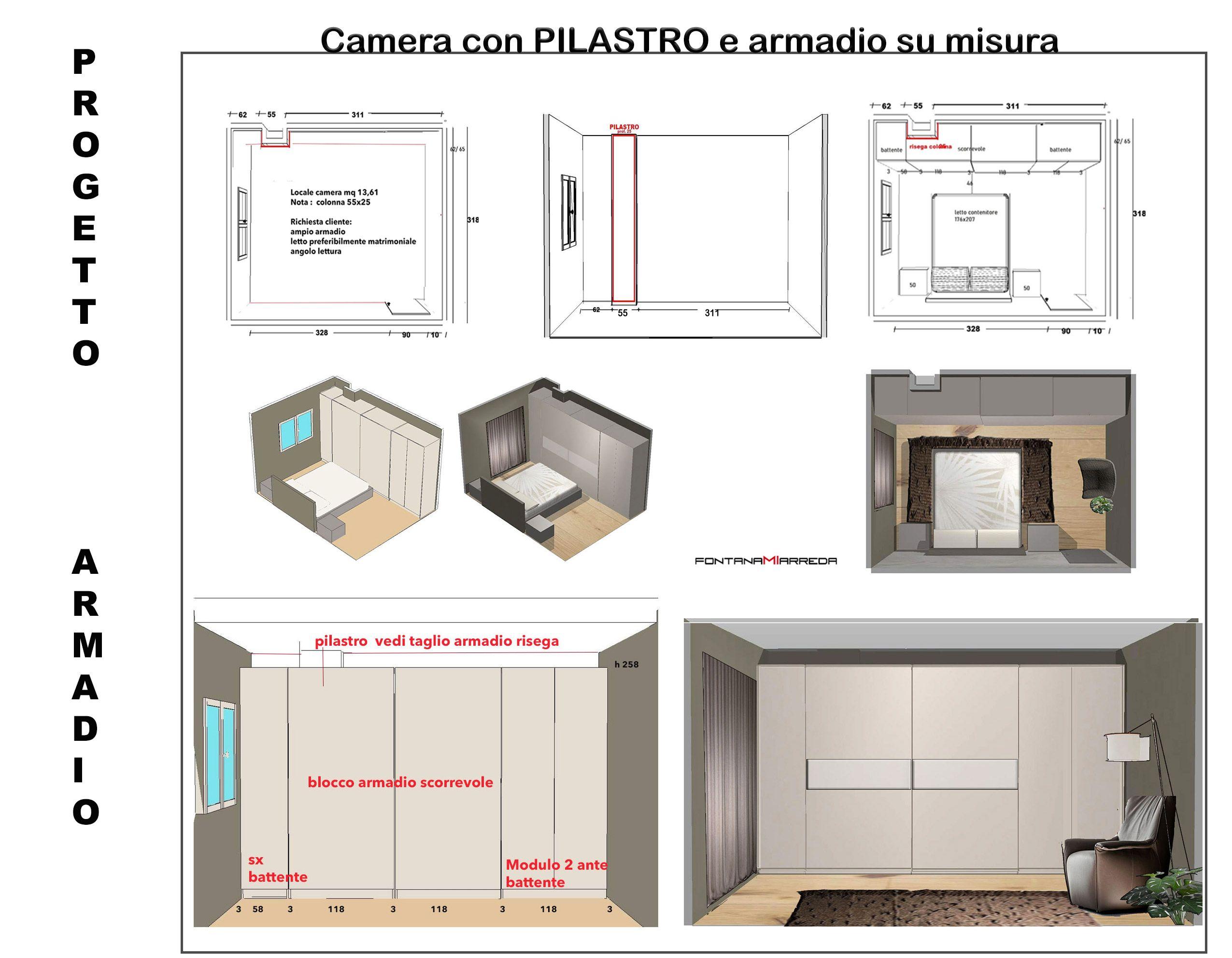 armadio su misura per camera da letto con pilastro Caso n ...