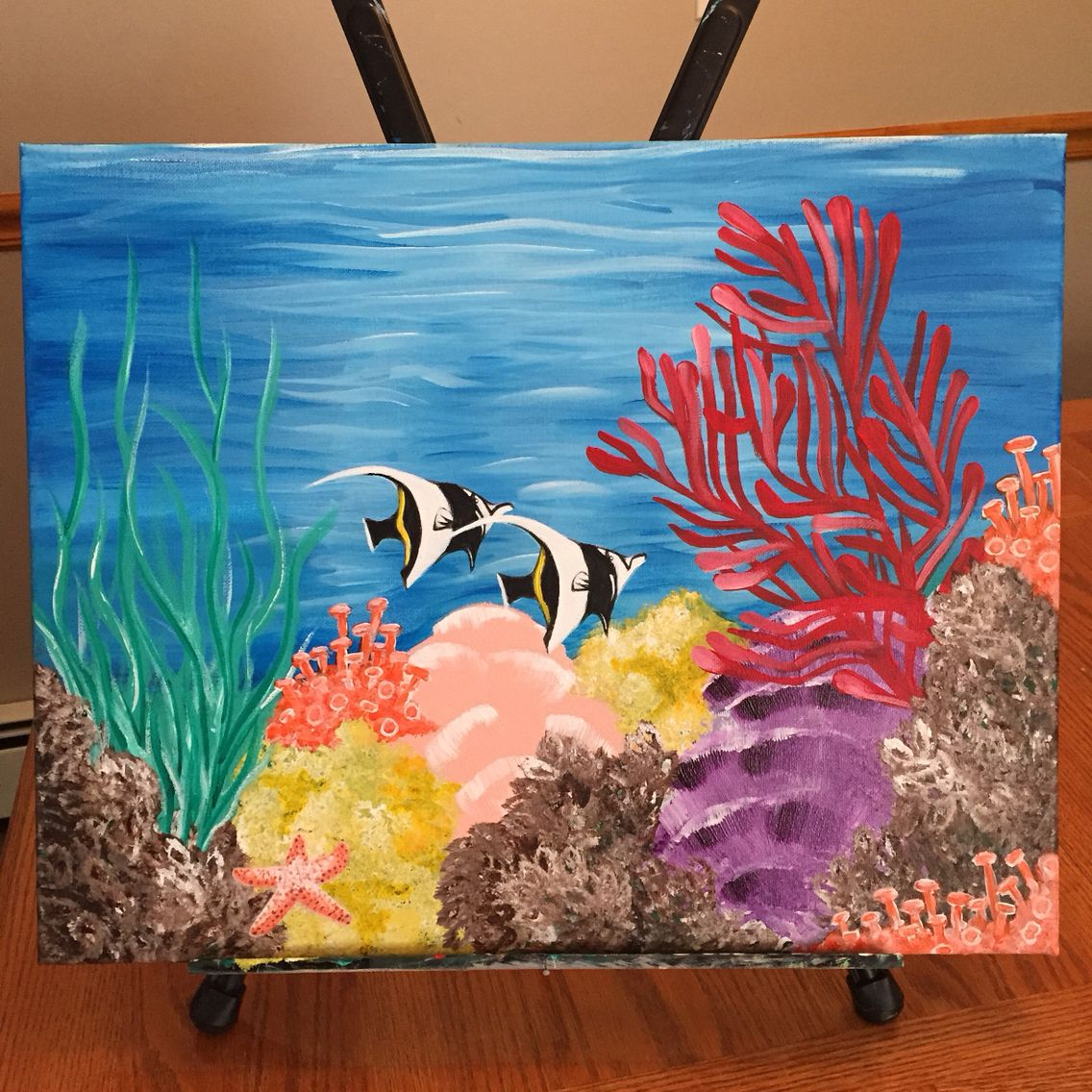 Ocean floor, coral reefs and fish acrylic painting, so ...