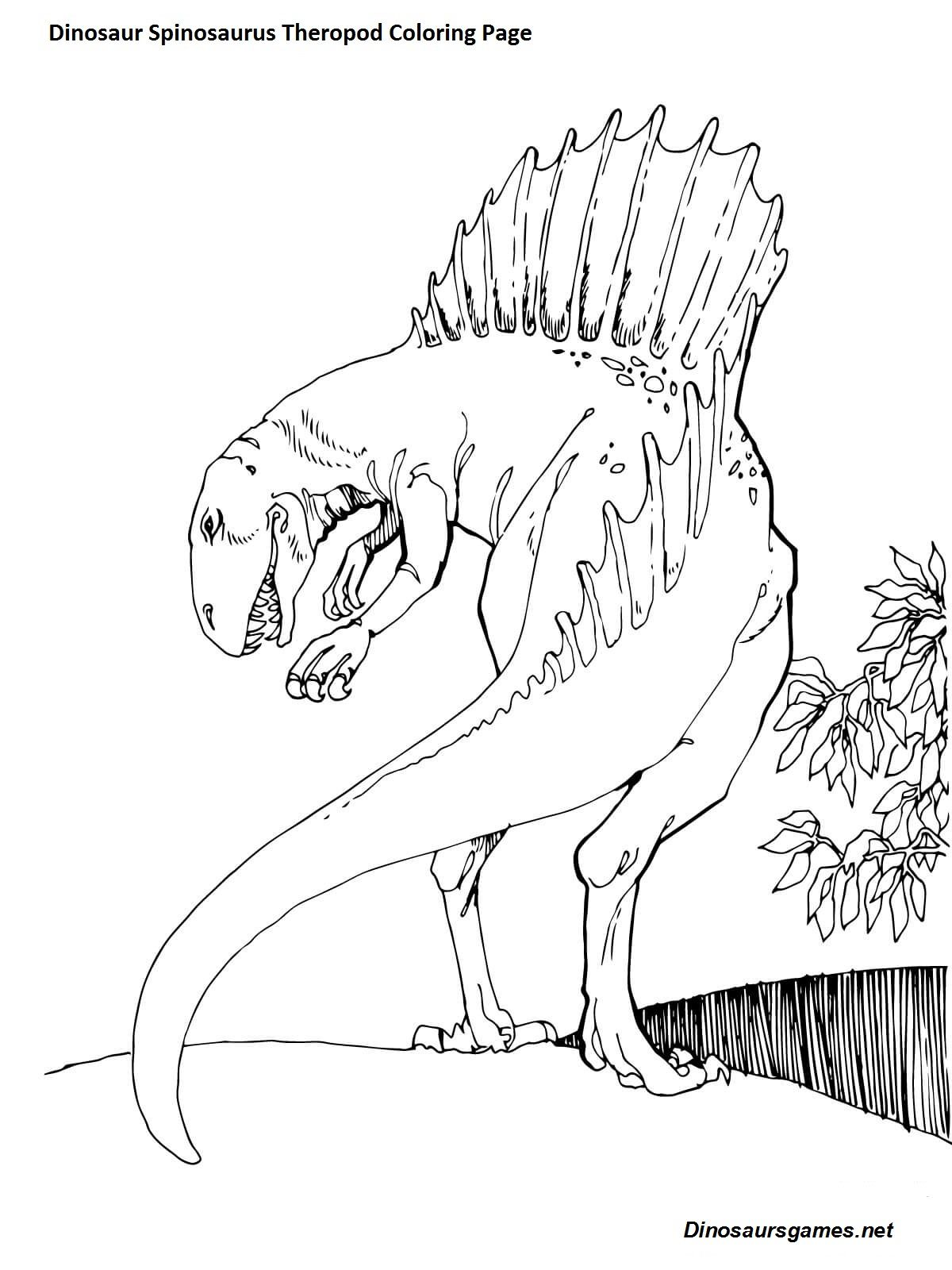 Idea By Dinosaur Games On Spinosaurus Dinosaur Coloring Page