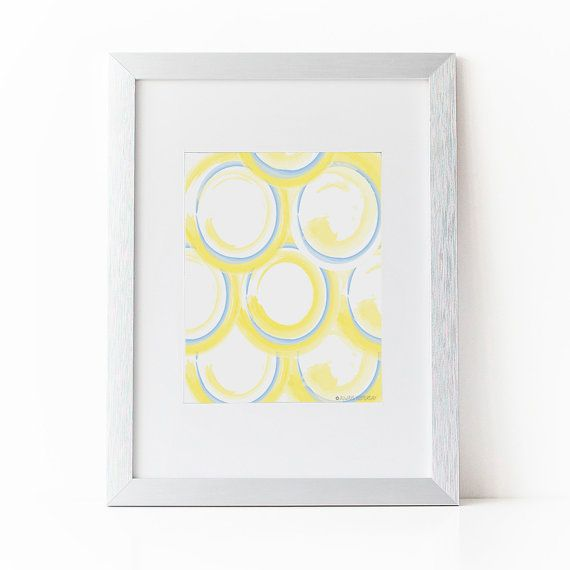 Circle Pattern Printable Wall Art | Design | Office | Home | Blue and Yellow | Home Printable