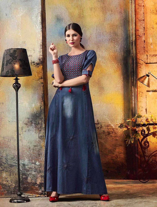 abffa27c72 Sethnic readymade denim gown wholesale supplier in Surat | Kurtis ...