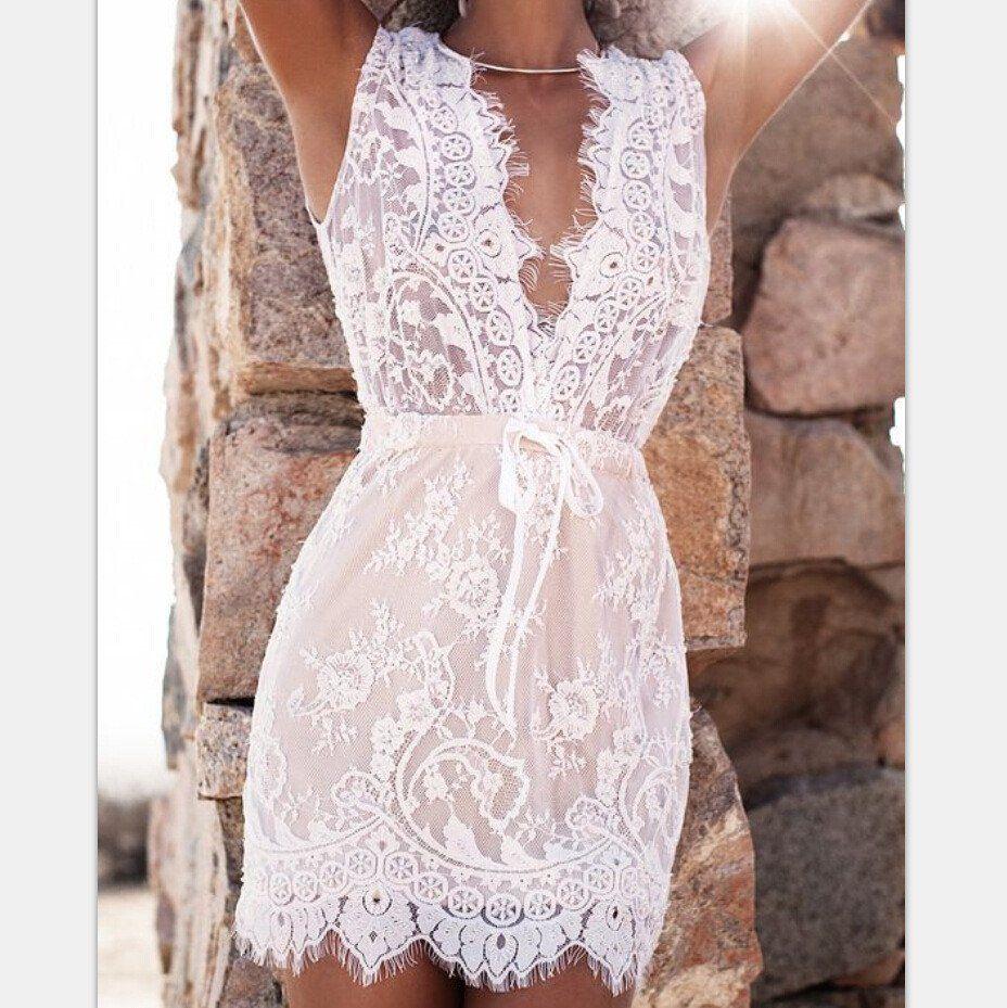 White Transparent Deep V Neck Sleeveless Lace Short Dress Lace White Dress Short Lace Dress Lace Dress