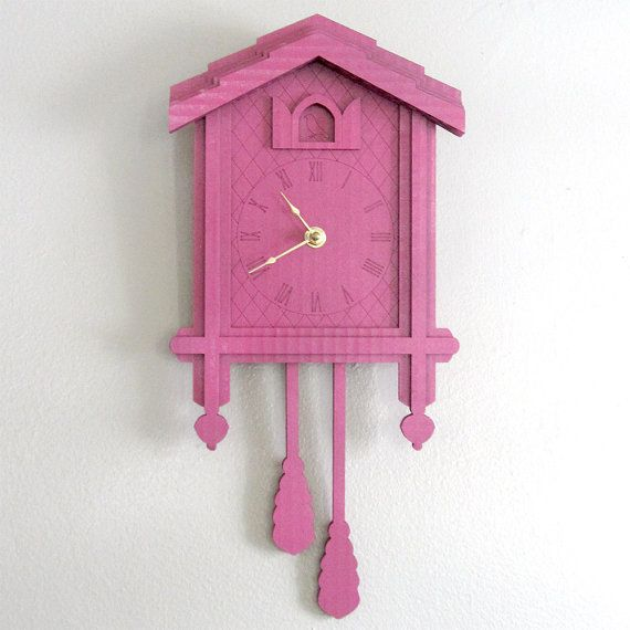 Pink Cuckoo Clock Color Cardboard Eco Wall Decor By Seequin 32 00 With Images Clock