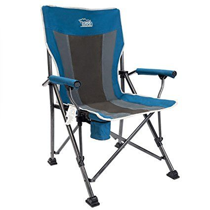 Folding Quad Chair Metal Timber Ridge Camping Ergonomic High Back Support 400lbs With Carry Bag Outdoor Heavy Duty Padded Armrest Cup Holder Review