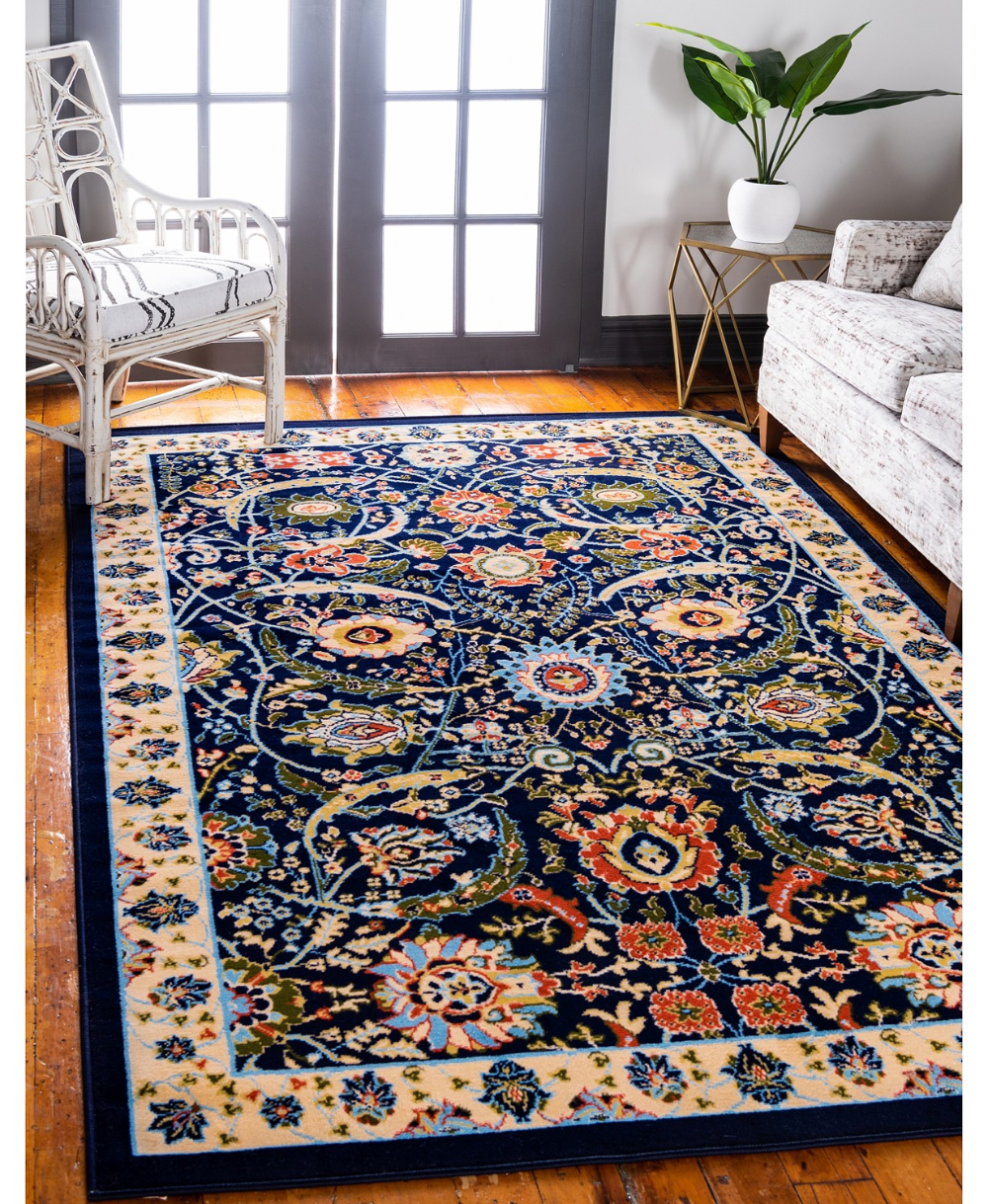 Bridgeport Home Aelmoor Ael1 Navy Blue 9 X 12 Area Rug Area