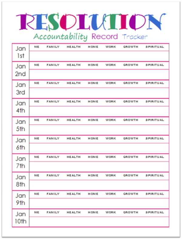 image relating to New Year Resolution Printable titled Fresh new Several years Resolutions Responsibility Background Tracker