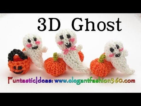 Halloween and Autumn Rainbow Loom Crafts.....Like these 3D Casper Ghost and Pumpkins! Instruction video