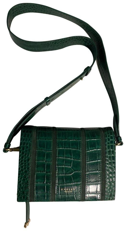 RADLEY LONDON | Radley London Small Flap Over Green Leather Cross Body Bag