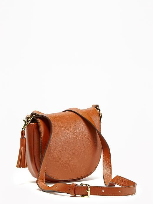Faux-Leather Saddle Purse for Women