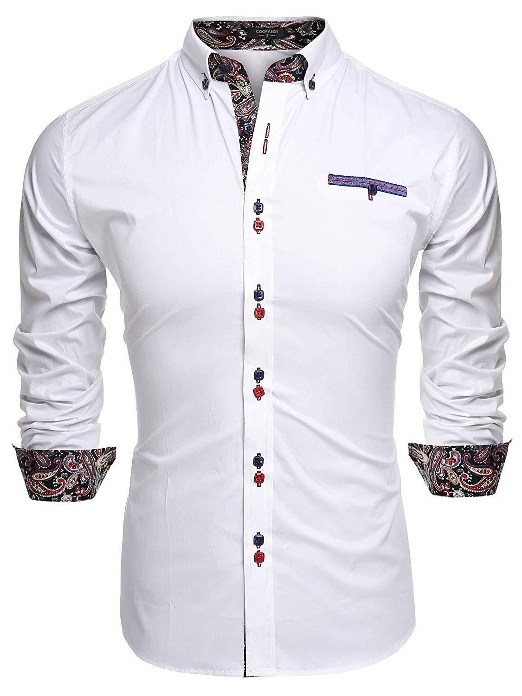 Jinidu mens slim fit dress shirt casual button down