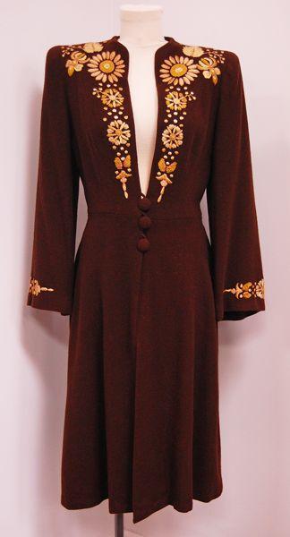 1940's Embroidered Deep V Open Neckline, Cinch Waist Vintage Dress Coat