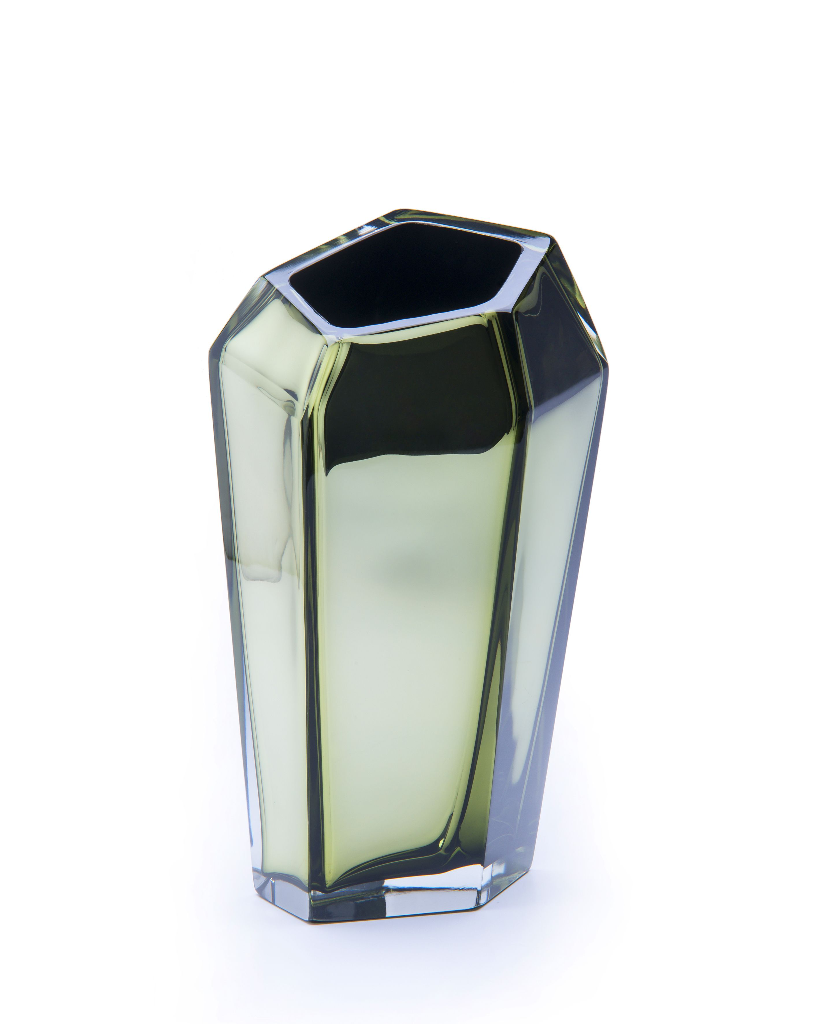"""Purho made in Italy, """"Kastle"""" (design KARIM RASHID) Vase hand-crafted Murano glass h. 40 cm 8 colors available limited and numbered edition available colours: bronze, aqua marine, gold green, amethyst, blue, pink, grey, silver"""