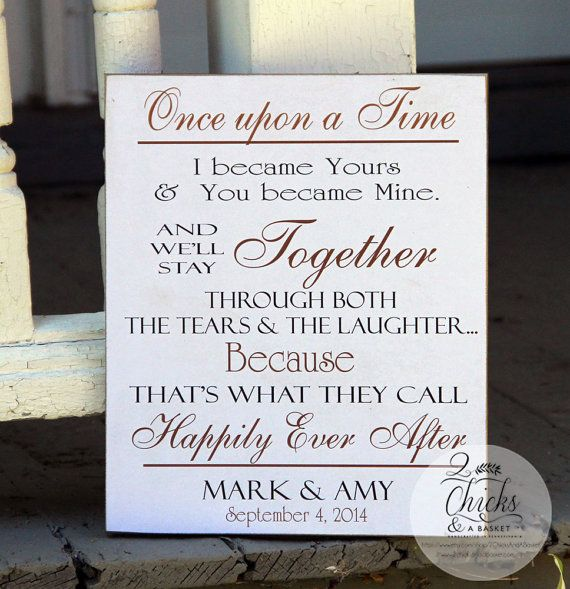 Our Love Story Wedding Idea: Once Upon A Time Sign Personalized Love Story By