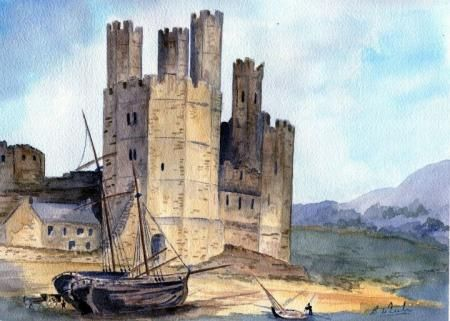 Caernarfon Castle 1775, Non-Professional gallery, Barry Wheeler, SAA Professional Members' Galleries