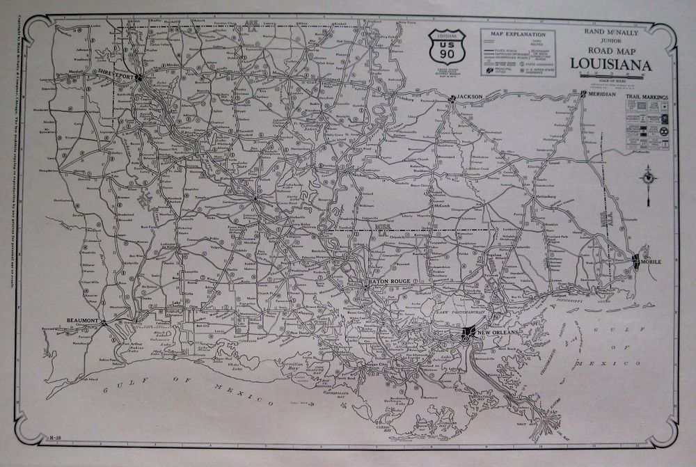 1927 Antique Louisiana Road Map Poster Print