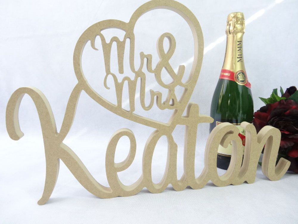 Mr And Mrs Large Wooden Letters: Mr&Mrs In Heart W/Personalised ** RAW WOODEN LETTER Name