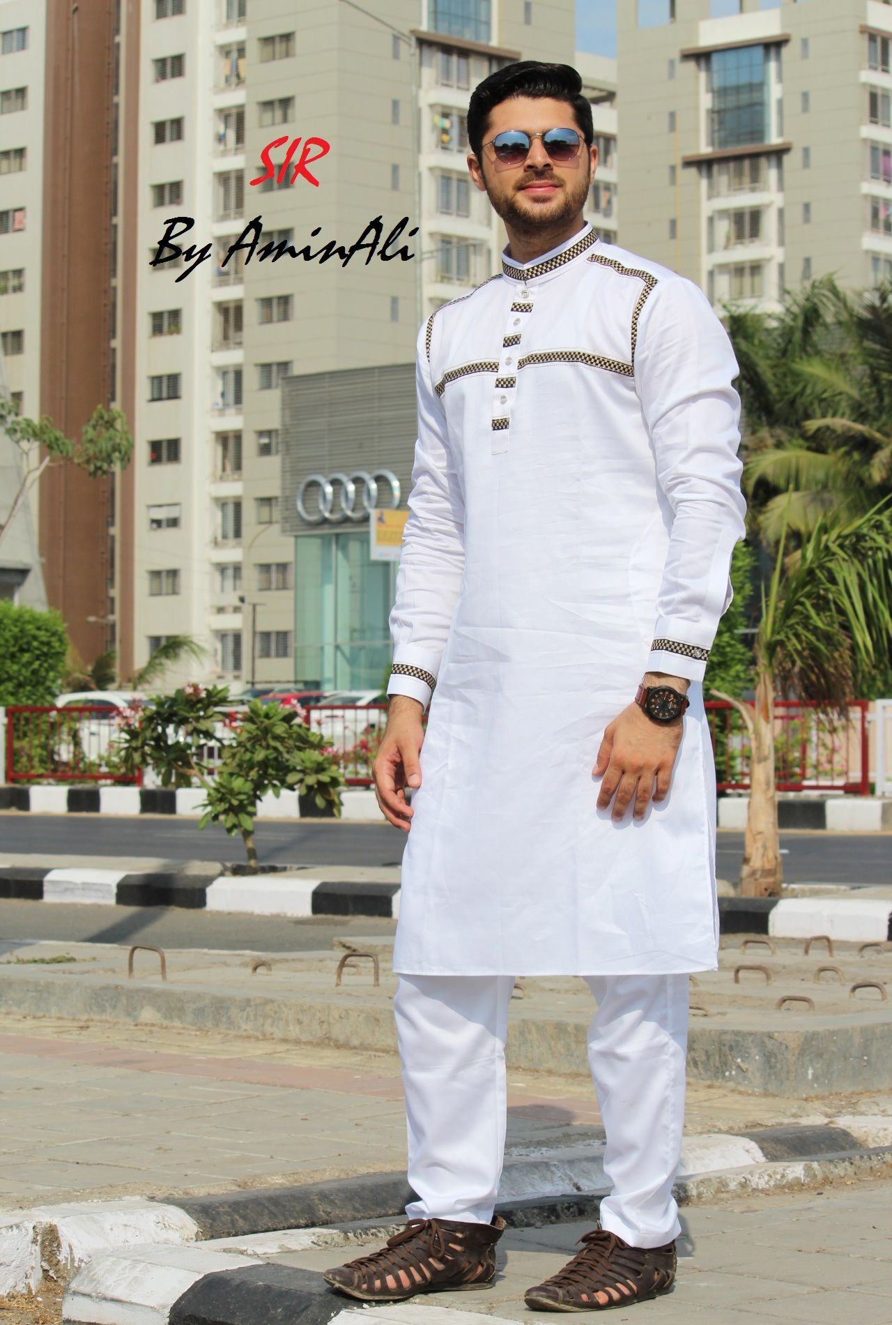 d9e31394d3 Mens Designer festive cotton pathani suit with collar neck, short button  placket and full sleeves and curve hem. Comes with matching bottom.