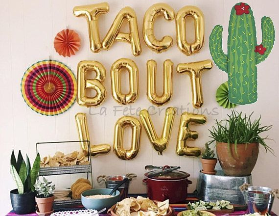 TACO BOUT LOVE Balloons Letter Balloons Large Cactus Balloon Fiesta Party Bridal Engagement Party Wedding Taco Bout Love Banner #engagementparty