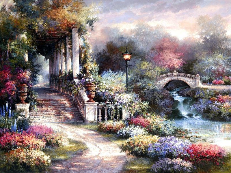 Art Bridge Garden Retreat Abstract Fantasy Hd Desktop Wallpaper Garden Painting Murals Your Way Painting Wallpaper