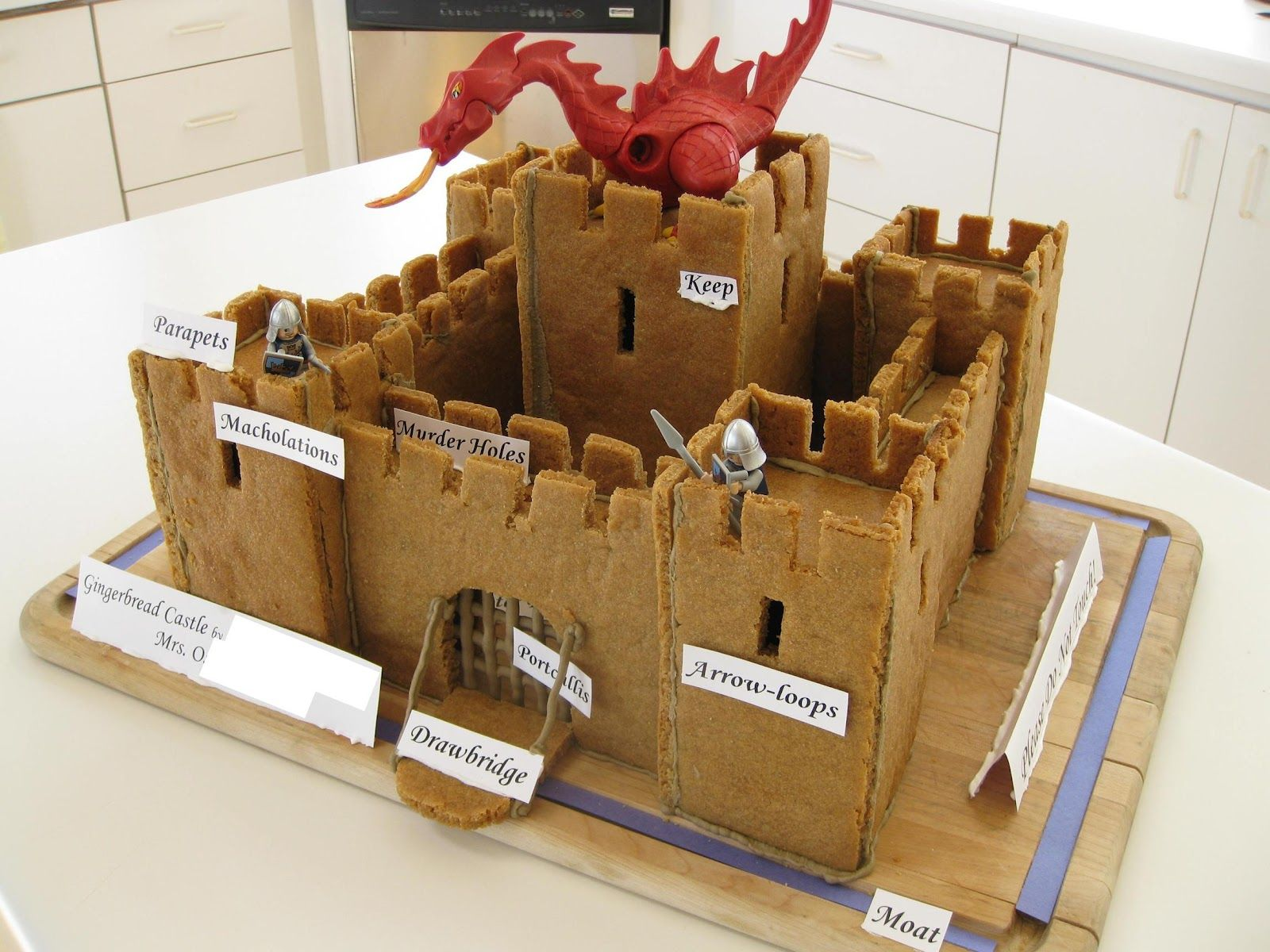 Castle Gingerbread We Couldn T Resist Adding Some Knights And A Dragon