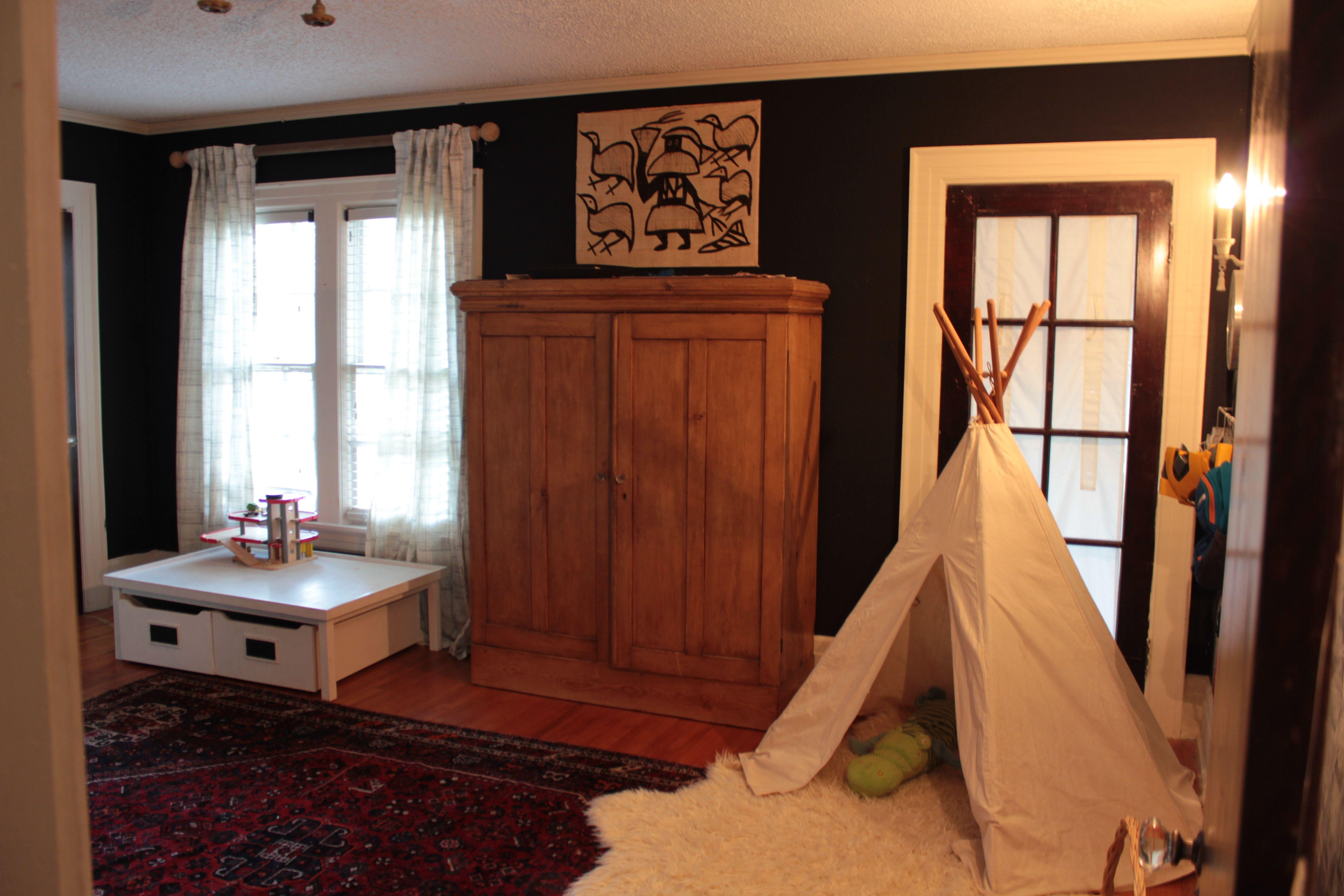 kids bedroom remodel, black walls, teepee, antique closet