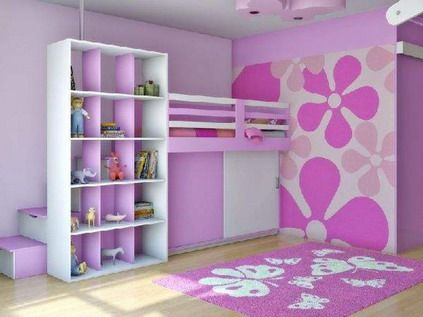 Beautiful Pink Flowers Wall Murals Decals For Teenage Girls Purple Violet Bedroom  Design Ideas