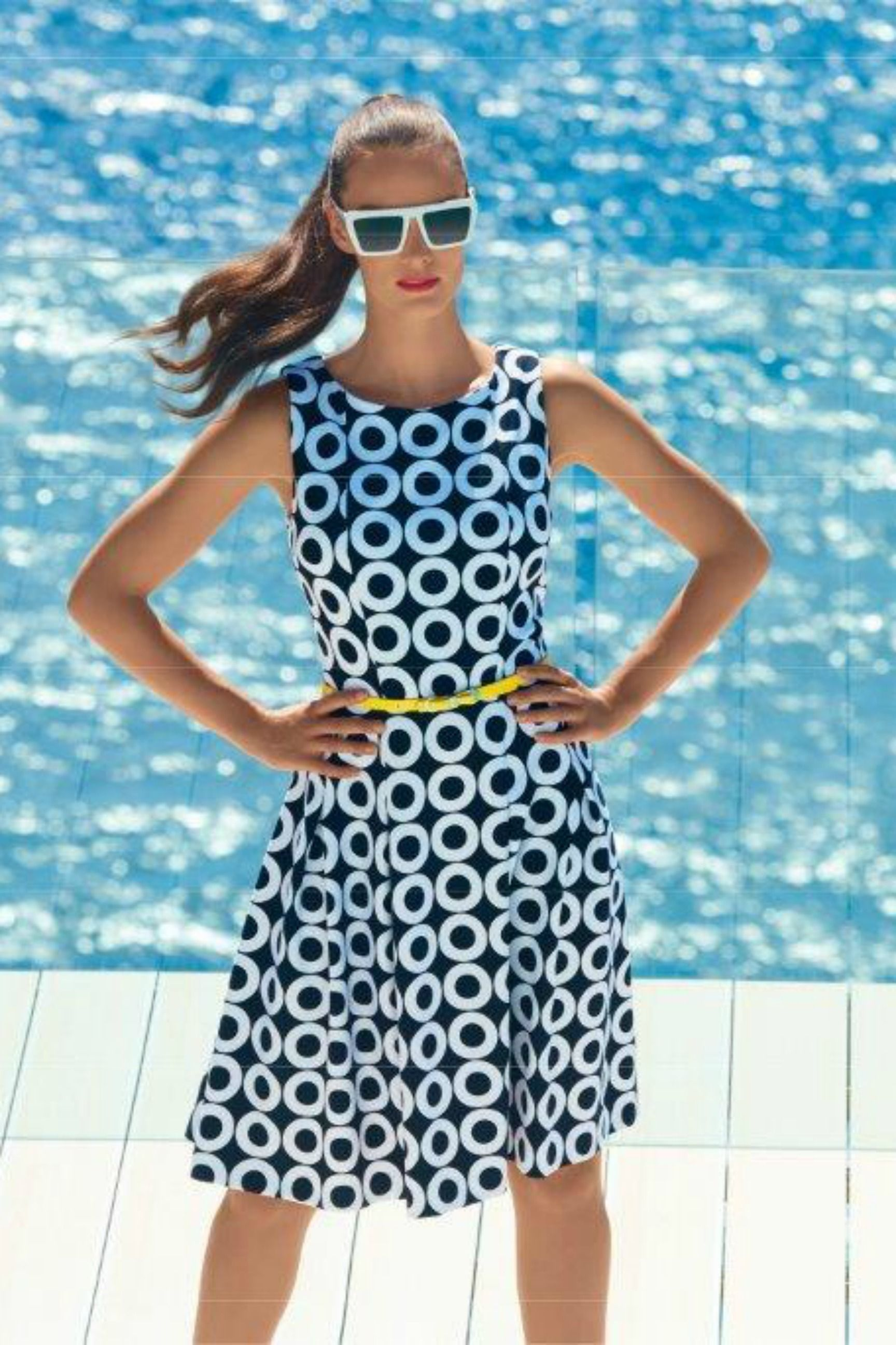 Spottie Circle Dress - from Joseph Ribkoff early 2016 Collection