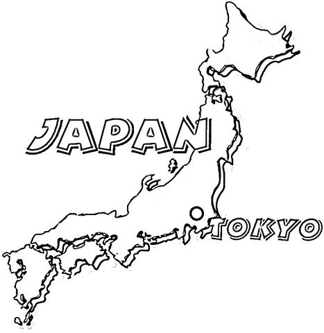 Map Of Japan coloring page from