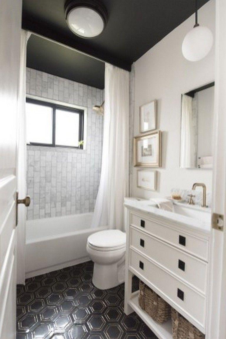 50+ Stunning Black And White Subway Tiles Bathroom Design #bathroom  #bathroomideas #bathroomdesign