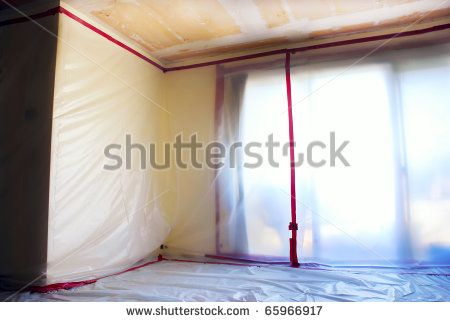 Room Covered With Clear Plastic Sheeting After Asbestos Abatement Completed On Popcorn Ceiling Photo Room Popcorn Ceiling Cover