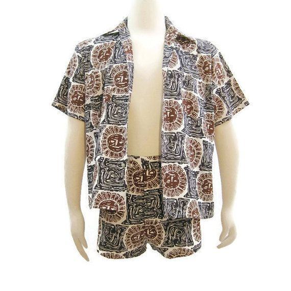 89e4e1e566 60s Mens Cabana Set MOD Matching Shorts Shirt Novelty Sun Print by  VogueVintageMenswear #vintage #
