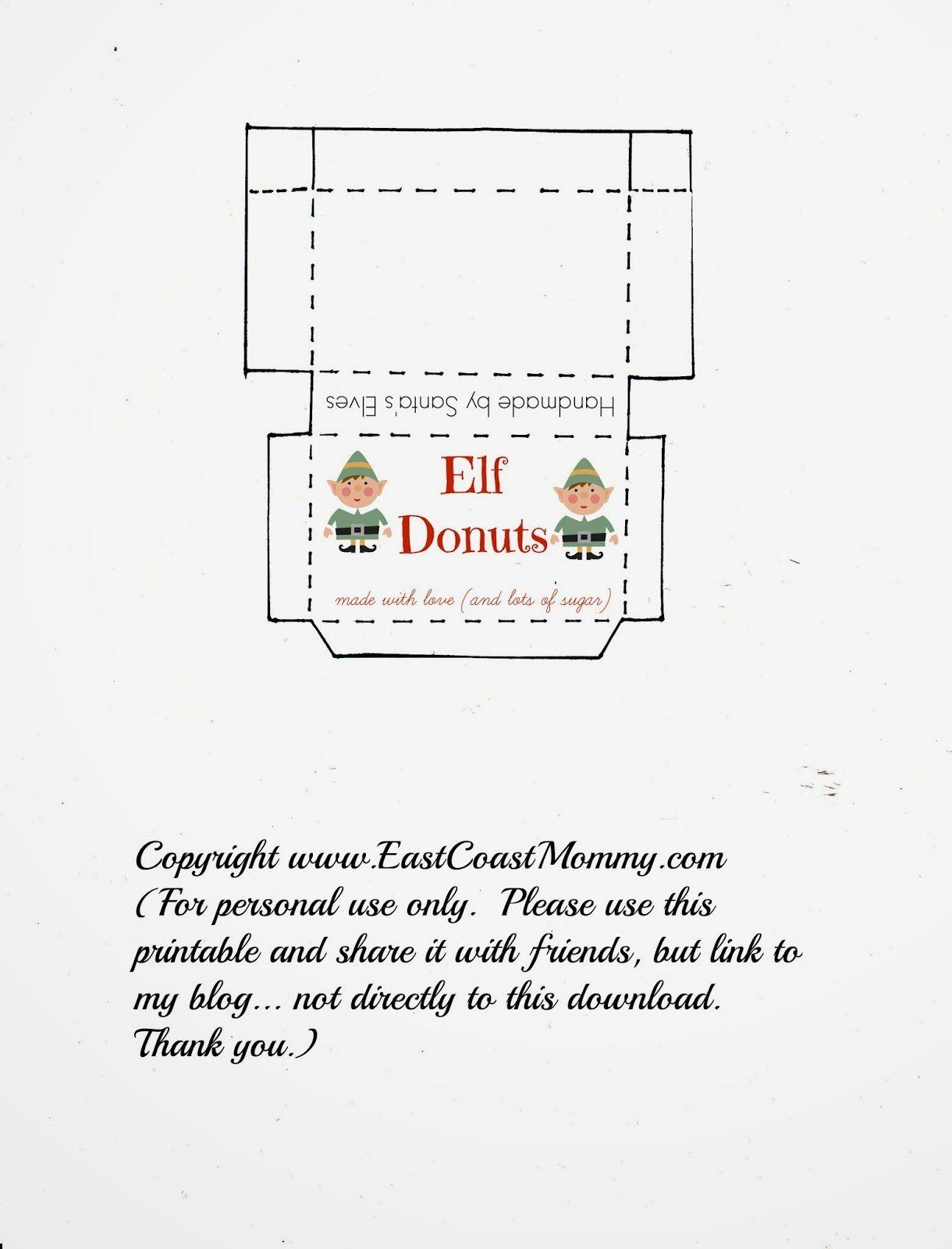 Elf On The Shelf Donuts Free Printable Box Elf On The Self Elf On The Shelf Awesome Elf On The Shelf Ideas