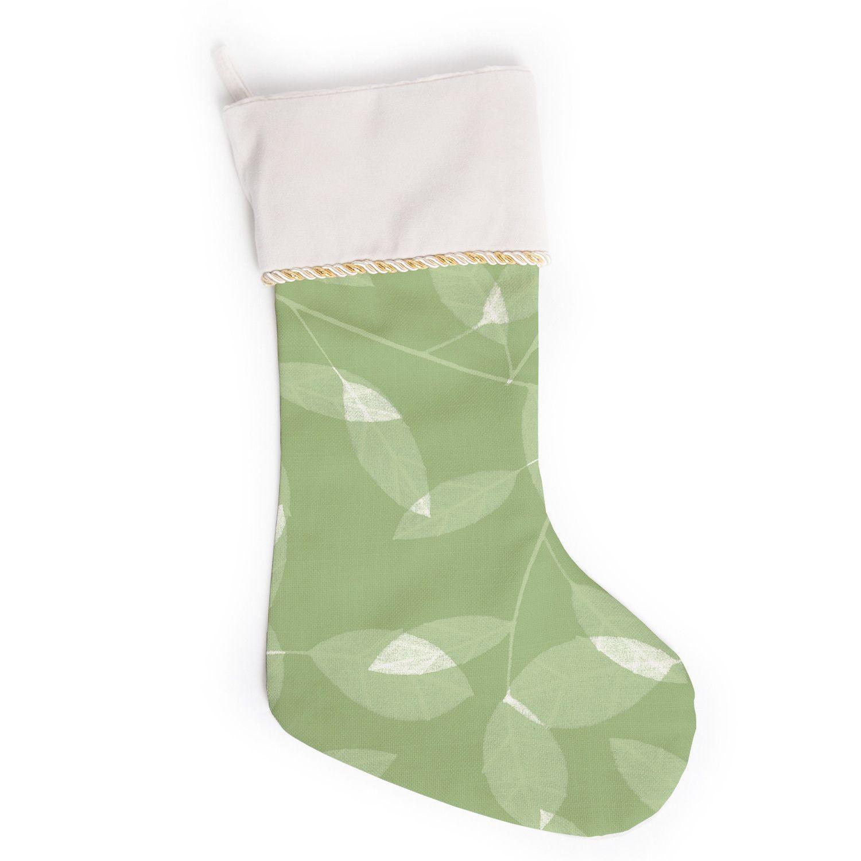 alison coxon leaf olive green christmas stocking
