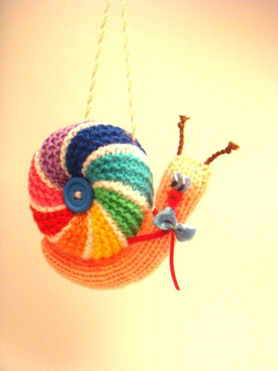 Knitting Pattern For Toy Snail : Knitted snail toy, baby rattle toys, hand knitted animals ...