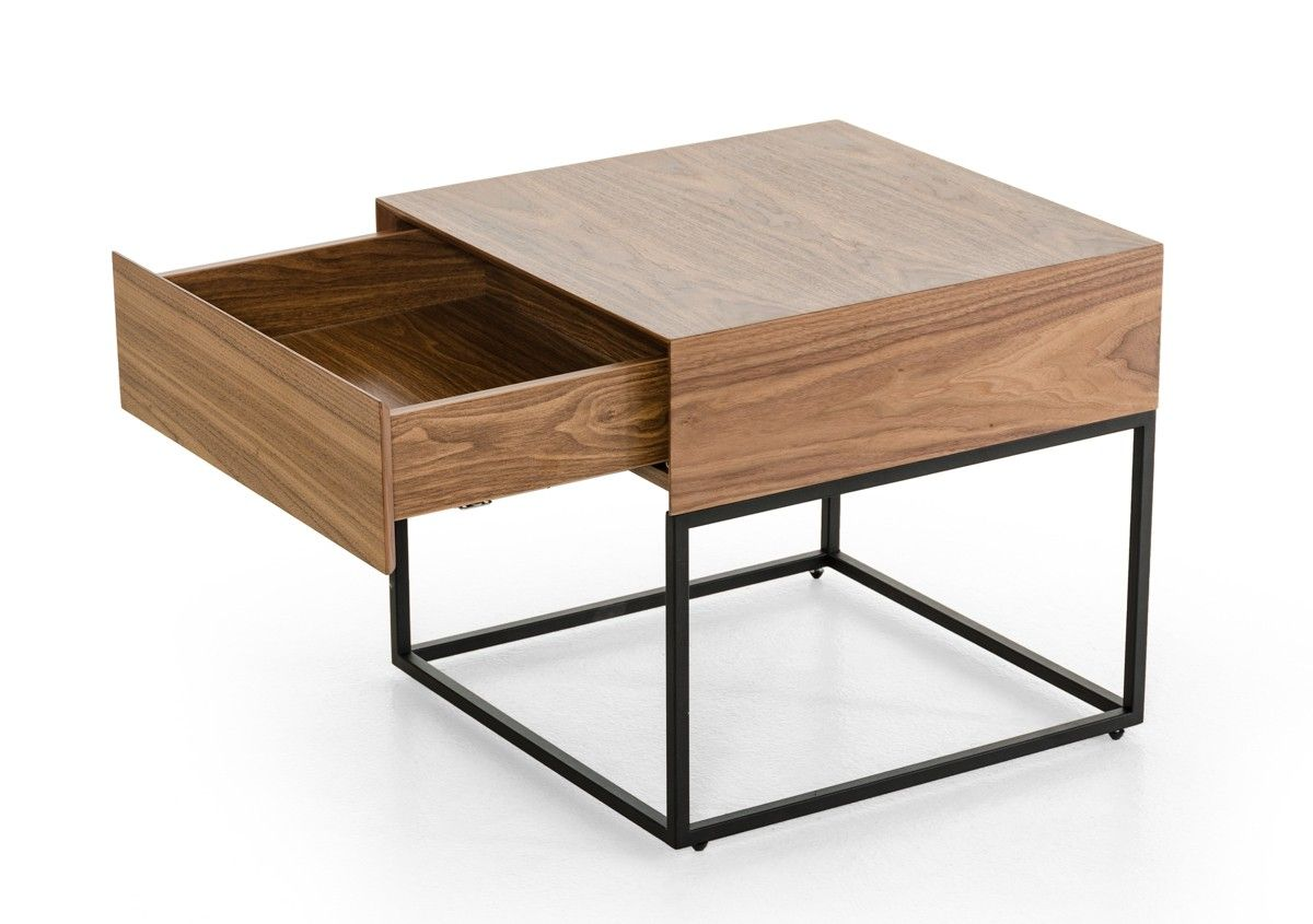 Modrest Block Modern Walnut End Table 330 210 W20 X D20