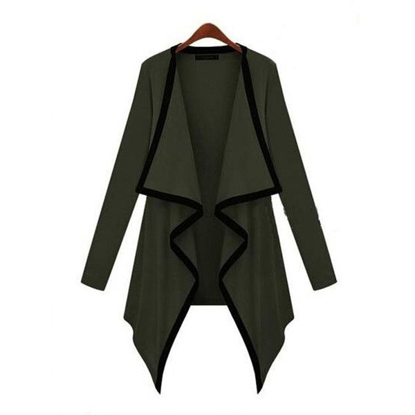 Army Green Black Colorblock Lapel Irregular Knit Cardigan (14 CAD) ❤ liked on Polyvore featuring tops, cardigans, color block top, army green top, knit cardigan, olive green cardigan y olive tops