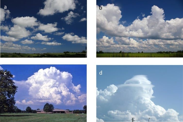 Four Types Of Cumulus Clouds A Cumulus Humilis A Species Of Cumulus Having A Short Vertical Extent B Cumulus Radiatus A Vari Clouds Cumulus Clouds Nature