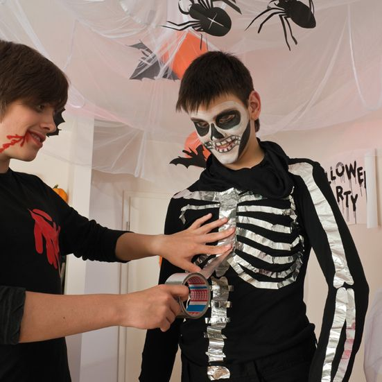 homemade halloween costume kids aluminium tape skeleton  sc 1 st  Pinterest & homemade halloween costume kids aluminium tape skeleton | kids games ...