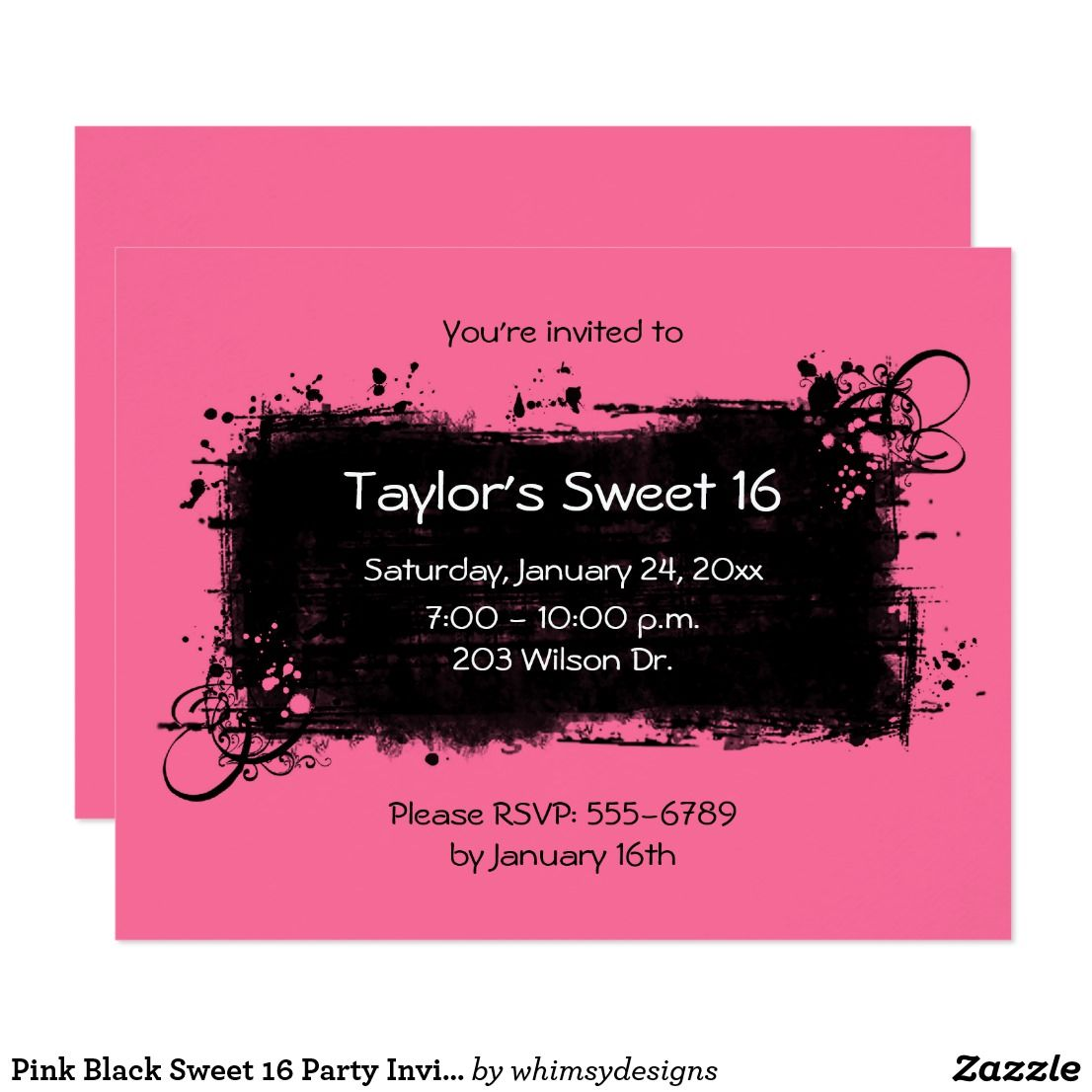 Pink Black Sweet 16 Party Invitations | Birthday sweets, Sweet 16 ...