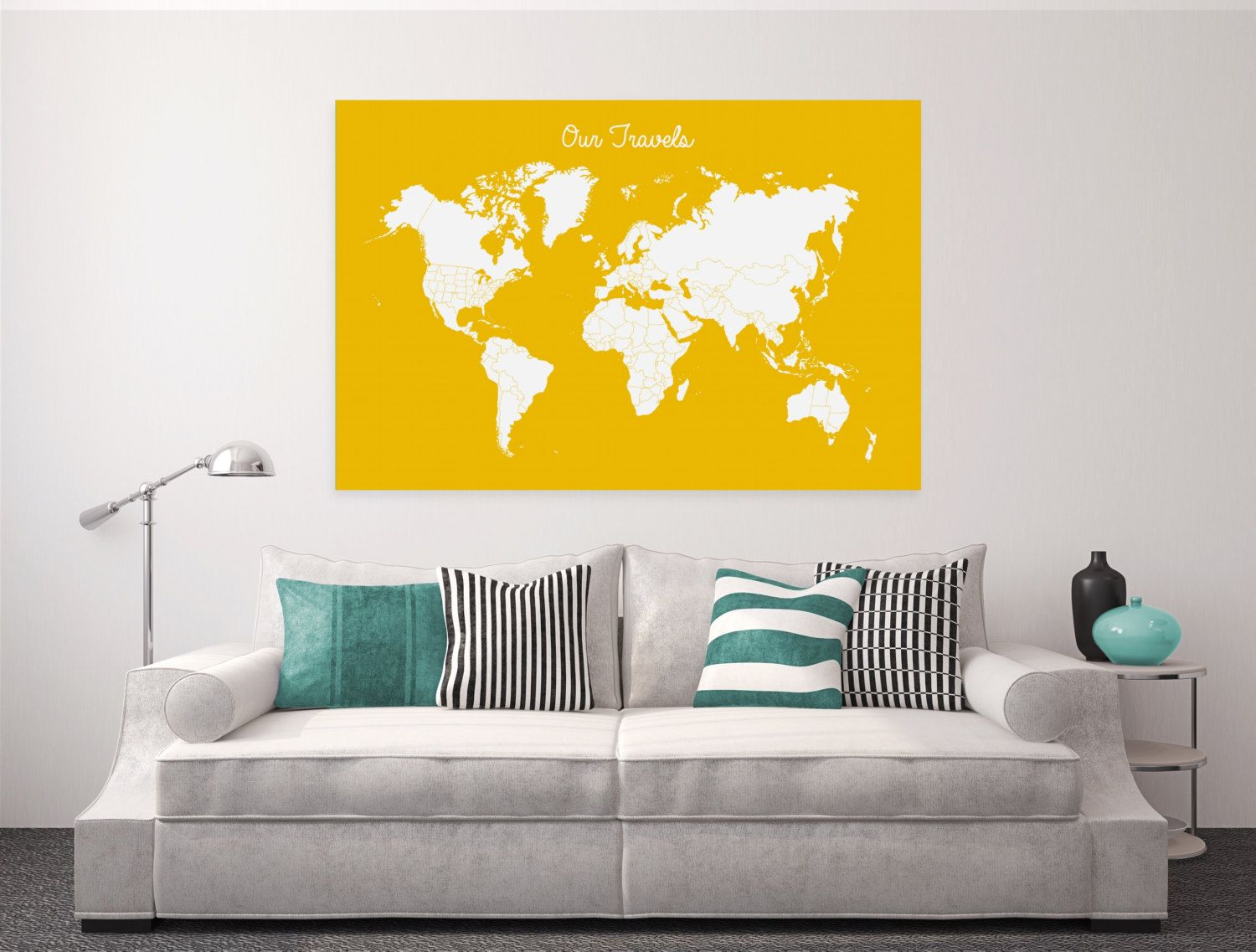 New to BySamantha on Etsy: Travel Tracker Canvas World Map Canvas ...