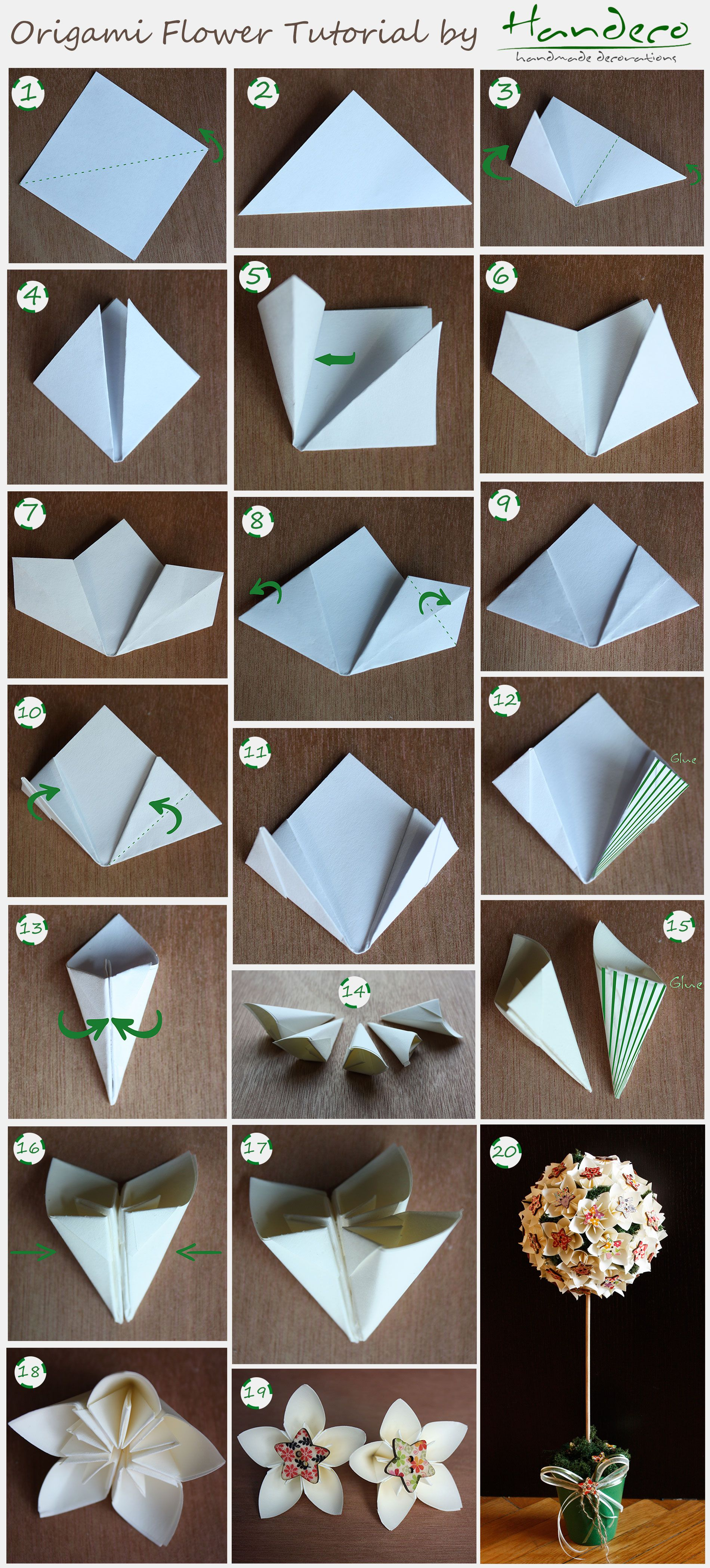 Pin by Handeco on DIY Tutorials | Origami flowers tutorial ... - photo#38
