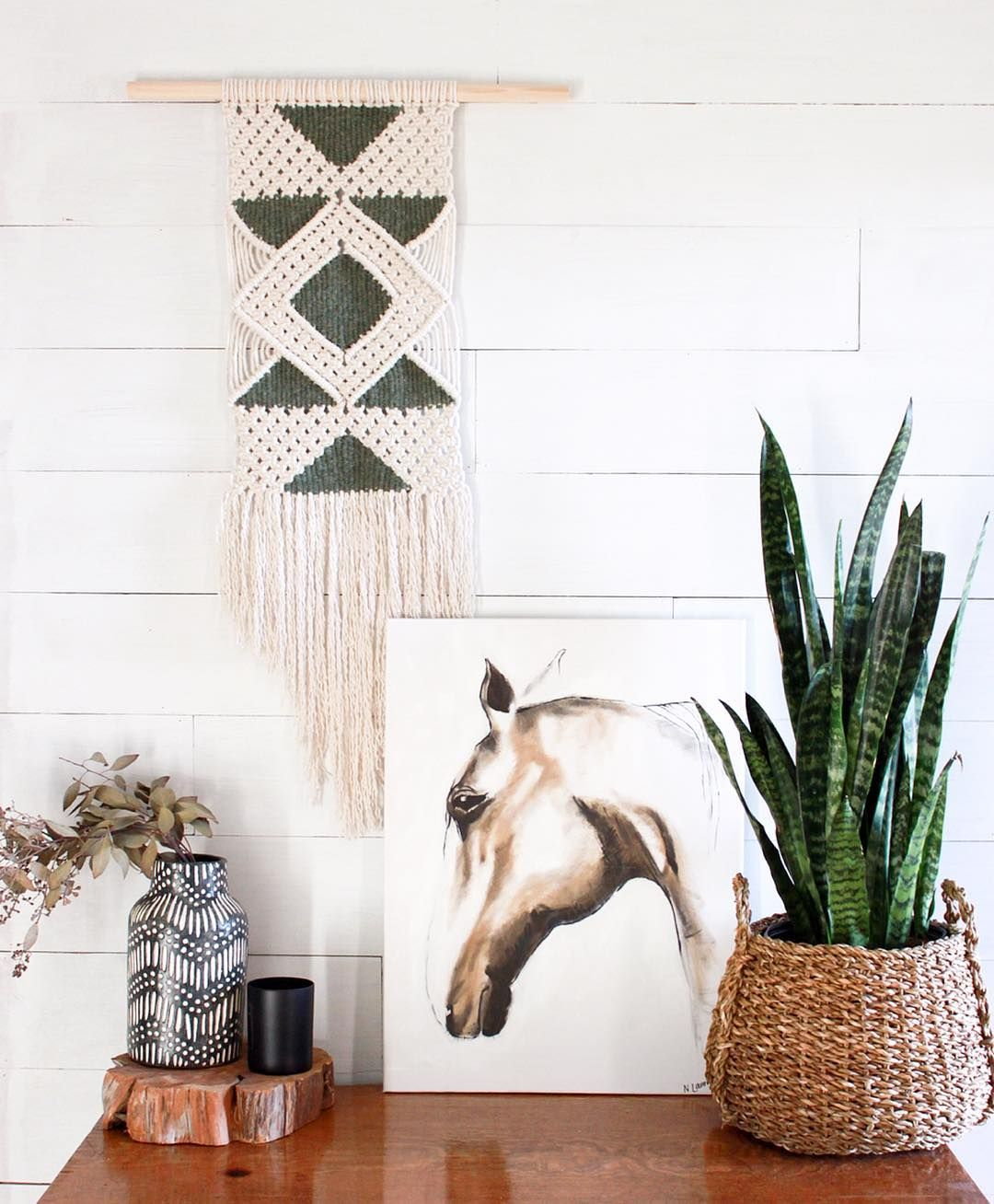 Macrame Wall Hanging With Woven Details By Studio Shepherd Southwest Style Interior Design Macrame Wall Hanging Wall Hanging Woven Wall Hanging