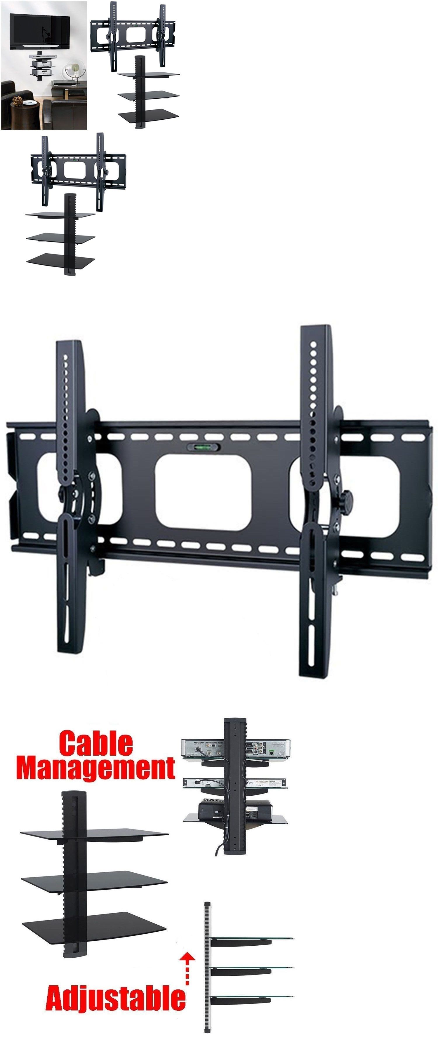 Tv Mounts And Brackets Tilt Tv Wall Mount With Shelf Shelves 3 Triple Shelf For 55 50 60 65 70 85 Buy It Now Only 64 9 Wall Mounted Tv Tv Wall Wall Mount